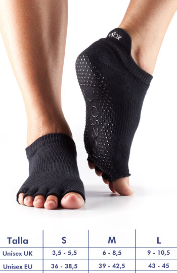 Calcetines de yoga ToeSox Low Rise negro sin dedos