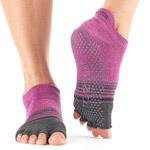 Calcetines de yoga ToeSox Low Rise berengena-gris sin dedos