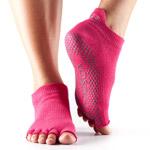 Calcetines de yoga ToeSox Low Rise fucsia sin dedos