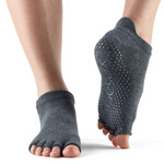 Calcetines de yoga ToeSox Low Rise Gris oscuro sin dedos